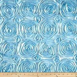 BABY BLUE Rosette Satin Fabric – Sold By The Yard Floral Flowers Satin Decor $13.99