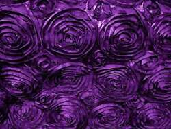 PURPLE Rosette Satin Fabric – Sold By The Yard Floral Flowers Satin Decor $13.99