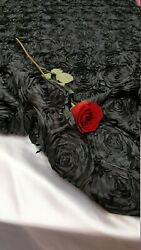 BLACK Rosette Satin Fabric – Sold By The Yard Floral Flowers Satin Decor $13.99