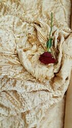 GOLD WAVES Rosette Satin Fabric – Sold By The Yard Floral Flowers Satin Decor $14.99