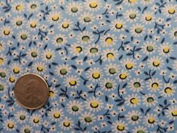 100% Cotton Fabric Little White Daisies on Dutch Blue Background By the Yard $4.00