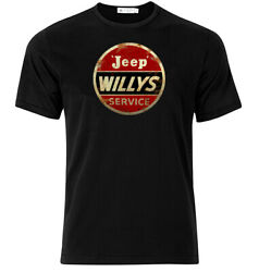 Jeep Willys Service Graphic Cotton T Shirt Short amp; Long Sleeve $18.95