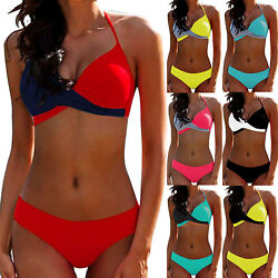 Womens Swimsuit Bikini Set Push Up Padded Bra Swimwear Bathing Suit Plus Size $13.01