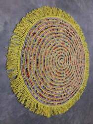 Natural 100% Handmade Braided Bohemian Jute and cotton Area Rug Round rustic rug $46.41
