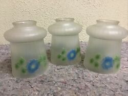 Three Antique Lamp Shades Globes Frosted Flowers Colored $79.99
