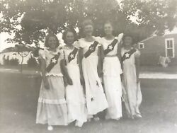 Girls In White Dresses Vintage Photograph Faded Picture $10.14