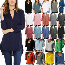 Plus Women Plain V Neck Blouses Ladies Casual Loose Shirt Summer Baggy Tunic Top $12.72