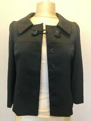 CHRISTIAN DIOR PARFUMS Designer Black Cropped Jacket Coat Size 34 Rare Vintage