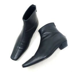 Gucci Womens Boots Black Leather Square Toe Riding Ankle Shoes Italy Zip Up Sz 6 $125.00