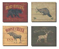 Rustic Deer Bear Beaver and Moose Sign; Cabin Lodge Decor; Four 10x8in Poster $19.69