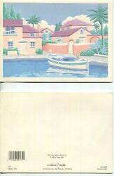 VINTAGE SOUTHWEST ADOBE HOUSE OCEAN PALM TREES BOAT TOPIARY ART PRINT ON CARD $400.00