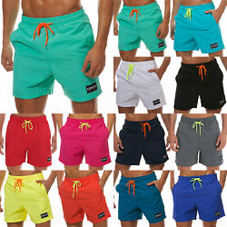 Swim Trunks Shorts Swimwear Board Surf Drawstring Boxer Short Pant Beachwear Men $15.95