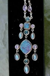 NICKY BUTLER Drusy Druzy Necklace Chandelier 925 Sterling Silver Multi Pendant $175.00