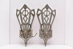 Vintage Art Deco Slip Shade Wall Sconces Antique Pair Lighting Fixtures Gothic $736.97