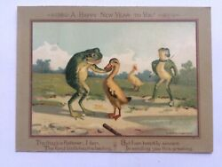 Antique Frog and Geese Happy New Year Card: Anthropomorphic Humour The Flatterer GBP 15.00