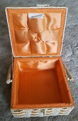 Vintage Sewing plastic Basket orange blonde apples Made For Sears size 8quot; x 5quot; $16.00