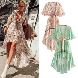 Women Ladies Summer Long Maxi Dress Boho Holiday Beach Party Cocktail Sundress $28.99