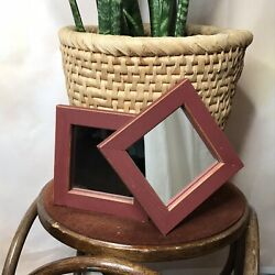Home Interior Square Wooden Frame Wall Decor Mirrors Accents 2pcs $16.40