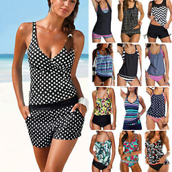 Women Tankini Set Bikini Swimsuit Swimming Suit Bathing Dress Holiday Swimwears $15.10
