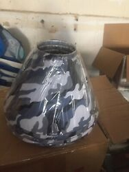 New Lot 2 Blue Grey Camouflage Lamp Shades By Restore amp; Restyle $16.99