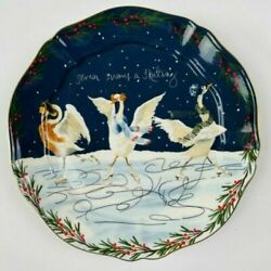 Anthropologie Inslee Fariss 12 Days of Christmas Plate 7 Swans Skating 1 Plate $70.00