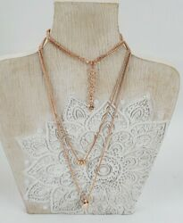 Lucky Brand Gold Rose Tone Multi Layer Multi Pendant Necklace $18.00