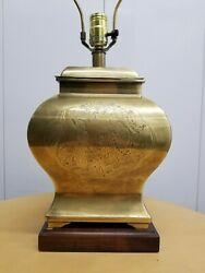 Vintage Frederick Cooper Etched Brass Urn Table Lamp Asian Chinoiserie Asian $199.99