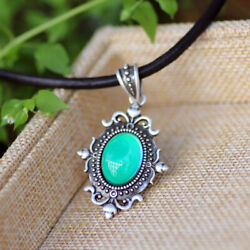 Womens Gift Mood Pendant Necklace Color Change Leather Chain Necklace for Sale $7.99