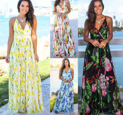 Women Ladies Boho Floral Maxi Dress Cocktail Party Evening Summer Beach Sundress $17.99
