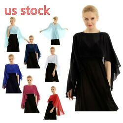 US Women Bolero Shrug Shawl Candigan Capes Cocktail Chiffon Clubwear Long Wrap $16.99