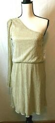 BISOU BISOU Gold Metallic One Shoulder Party Cocktail Dress NEW Lined Size 10 $17.00