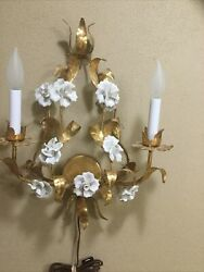 Stunning Italian White Porcelain Flowers Tole Gilt Leaves 2Arm Wall Lamp $310.00