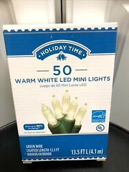 Holiday Time 50 Count Warm White LED Mini Lights On A Green Wire $8.95