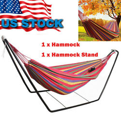 Double Person Garden Camping Canvas Hammock Hang Bed Outdoor Swing with Stand US $60.00