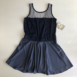 Reebok Women#x27;s Sport Slim sleeveless Tennis Navy Blue Dress Activewear Sz L NWT