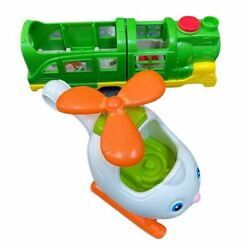 LOT 2 Fisher Price Little People Helicopter Train Vehicles Toddler Music Sounds $19.99