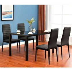 5 Piece Kitchen Dining Table Sets Glass Metal Breakfast Table Set W 4 Chairs $198.98