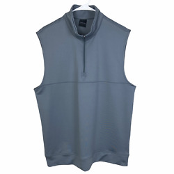 Dunning Golf Half 1 2 Zip Vest Large Gray Stretch Spell Out Logo Athletic $29.90
