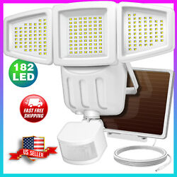 182 LED Solar Security Light Outdoor Waterproof Motion Sensor Wall Lamp white $29.99