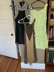 LOT of 3 Anthropologie Designer Dresses Eclectic Sz. 2 small