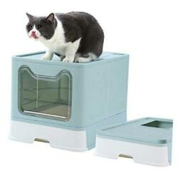 Cat Litter Box Foldable Top Entry Covered Cat Litter Box with Lid Easy blue $95.43