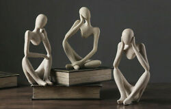 Resin White Thinker Statue Abstract Sculpture amp; Figurine Thinking Unique Decor $29.99