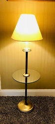 Floor Lamp Vintage Brass With Glass Surround. 3 Way Switch. $65.00