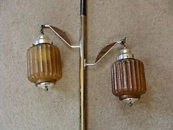 Vintage Mid Century Tension Pole Lamp 2 AMBER GLASS SHADES with WOOD ARMS WORKS $189.00