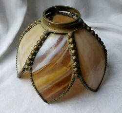 VINTAGE SHADE STAINED GLASS BROWN SWIRL WHITE RARE TEAR DROP SIDE COLLECTABLE $44.00