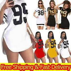Plus Size Women Sexy Mini T shirt Dress Printed Casual Bodycon Sport Jumper Tops $13.49