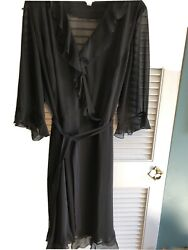 Faux Wrap Black Cocktail Dress With Ruffle Accents And Tie Belt Women's Sz 24