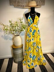 NWT Gorgeous Yellow Floral Maxi party summer Dress with Open Tie Back size S $35.00