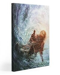 Jesus Canvas Jesus Hand Reaching Out From Ocean Christian Wall Decor Gift $42.99