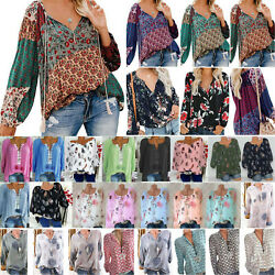 Summer Plus Boho Women Solid Top Blouse Ladies Long Sleeve T Shirt Pullover $17.95